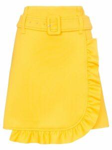 Prada belted ruffle detail skirt - Yellow