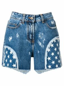 Faith Connexion star print denim shorts - Blue