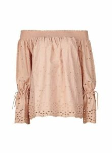 Womens Blush Broderie Bardot Cotton Top- Pink, Pink