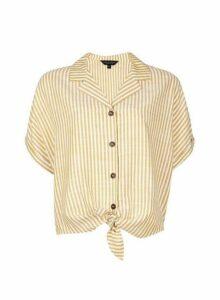Womens Yellow Stripe Tie Front Shirt, Yellow