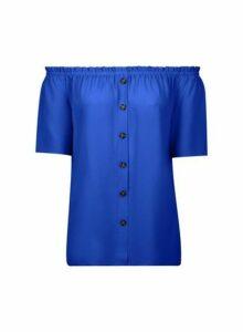 Womens Cobalt Button Bardot Top, Cobalt