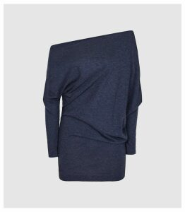 Reiss Norah - Drape Detail Top in Navy, Womens, Size XL