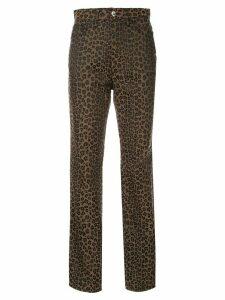 Fendi Pre-Owned leopard pattern long pants - Brown