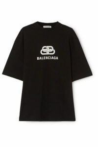 Balenciaga - Oversized Printed Cotton-jersey T-shirt - Black