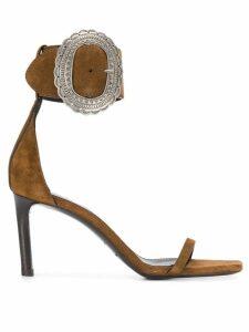 Saint Laurent Mica buckle sandals - Brown