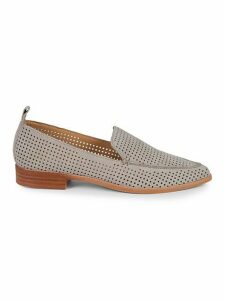 Kennie Perforated Suede Point-Toe Loafers