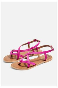 Womens Hazy Pink Leather Flat Sandals - Pink, Pink