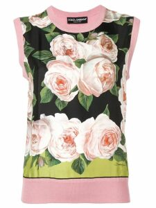 Dolce & Gabbana floral print knitted top - PINK