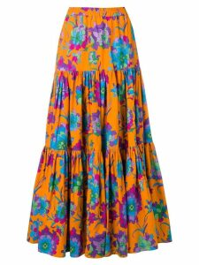 La Doublej long printed skirt - ORANGE