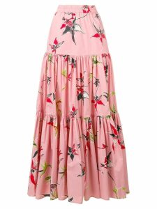 La Doublej long printed skirt - PINK