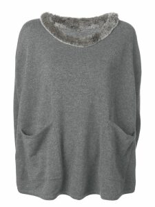 N.Peal Fur Pocket Cashmere Poncho - Grey