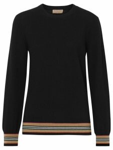 Burberry Icon Stripe Detail Merino Wool Sweater - Black