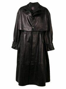 Bottega Veneta single-breasted leather trench coat - Black
