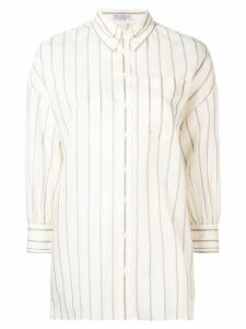 Brunello Cucinelli stripe print oversized shirt - NEUTRALS