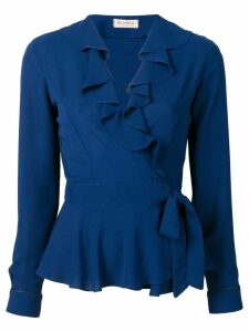 Blanca ruffled wrap blouse - Blue