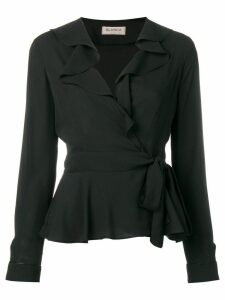 Blanca ruffled wrap blouse - Black
