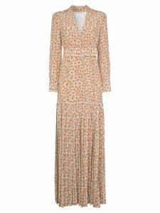 Rebecca De Ravenel daisy print silk maxi dress - Brown