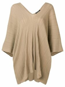 Balmain ribbed oversized top - Brown