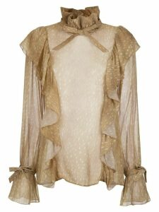Adriana Degreas ruffled top - NEUTRALS