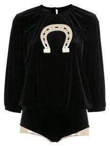 Adriana Degreas velvet top and bottom set - Black