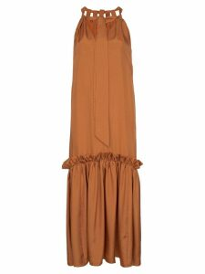 Tibi Tiered ruffled midi-dress - Orange
