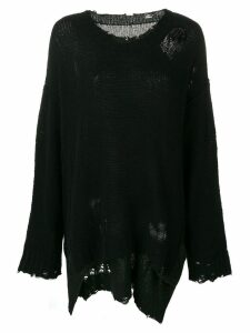 R13 frayed knitted jumper - Black