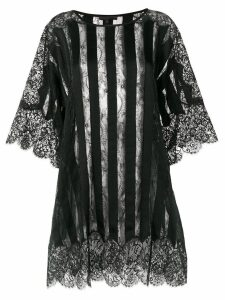 Amen sheer striped and lace trimmed oversized top - Black