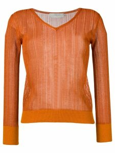 L'Autre Chose lightweight crochet V-neck sweater - ORANGE