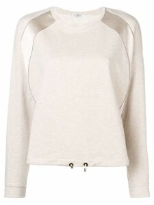 Brunello Cucinelli satin stripe sweatshirt - Neutrals