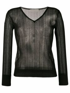 L'Autre Chose lightweight crochet V-neck sweater - Black