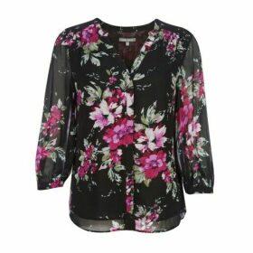 Black Henley Floral Blouse