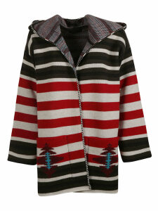 Alanui Striped Hooded Cardigan