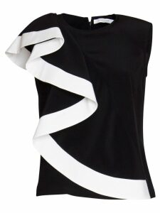 Givenchy Asymmetrical Top With Silk Ruffle In Black