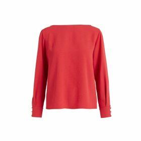 WtR - Dulcie Red Long Split Sleeve Blouse