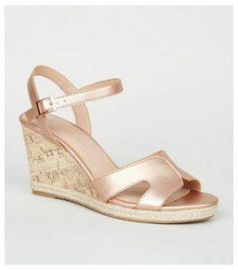 Wide Fit Rose Gold Cork Effect Wedge Sandals New Look Vegan