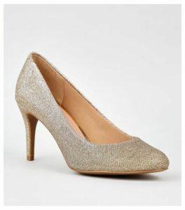 Gold Glitter Stiletto Heel Court Shoes New Look Vegan