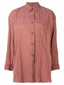 Issey Miyake Pre-Owned lightly pleated shirt - ORANGE