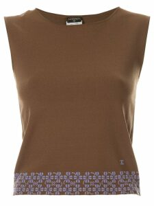 Chanel Pre-Owned floral hem knitted top - Brown