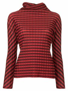 Issey Miyake Pre-Owned Pleats Please striped roll neck top - Red