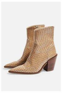 Womens Howdie Leather Western Boots - Natural, Natural