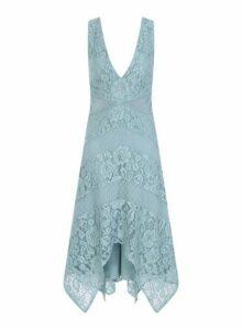 Womens Little Mistress Blue Lace Midi Prom Dress, Blue