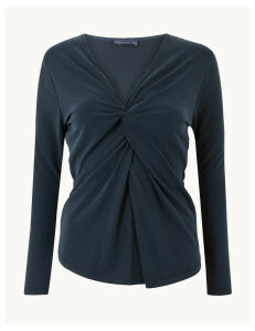 M&S Collection Twisted Front V-Neck Fitted Long Sleeve Top