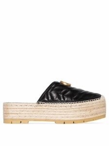 Gucci black GG pilar 50 raffia and leather espadrilles
