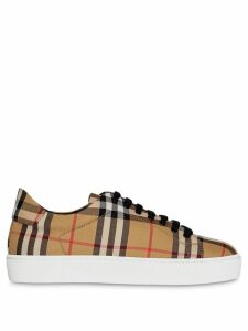 Burberry Vintage Check and Leather Sneakers - Neutrals