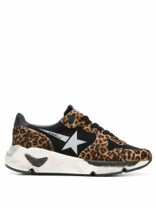 Golden Goose black Running Sole leopard print low-top leather sneakers