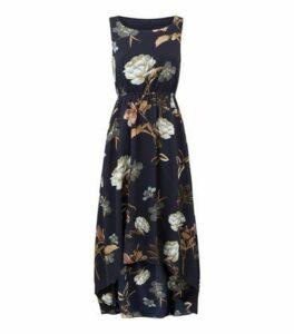 Blue Vanilla Navy Floral Dip Hem Dress New Look