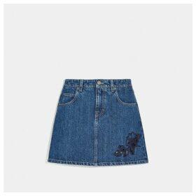 Coach Embroidered Denim Skirt