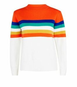 Cameo Rose Orange Colour Block Stripe Jumper New Look