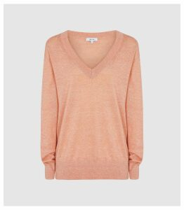 Reiss Vita - Wool Linen Blend V-neck Jumper in Coral, Womens, Size XXL