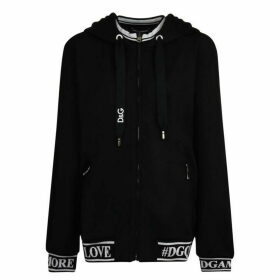 Dolce and Gabbana Logo Tape Zip Hooded Sweatshirt
